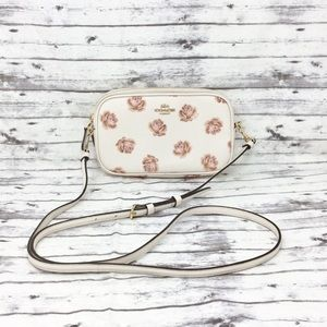 COACH-Mini Rose Leather Crossbody Handbag